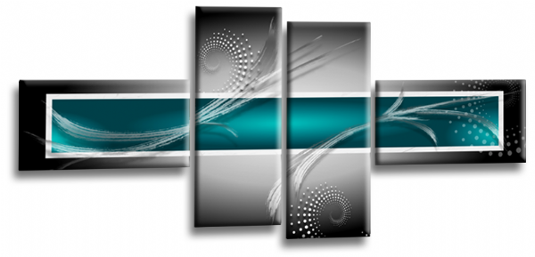Abstract Canvas Wall Art Print Teal Grey White Picture